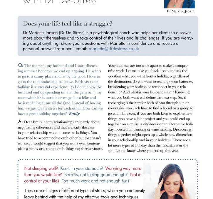 Advice from Dr Destress in Darling Magazine Kingston and Richmond